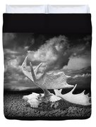 Moose Skull On Parched Earth Duvet Cover