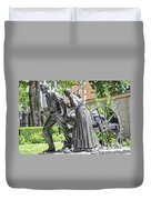 Mormon History - Hand Cart Statue Duvet Cover by Gary Whitton