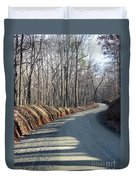 Morning Shadows On The Forest Road Duvet Cover