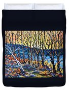 Morning Sunrise Over The Lake By Prankearts Duvet Cover
