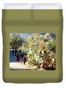 Moroccan People And Cacti Duvet Cover