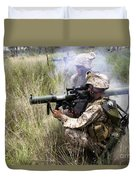 Mortarman Fires An At4 Anti-tank Weapon Duvet Cover by Stocktrek Images
