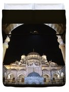Mosque Yeni Camii At Night Duvet Cover