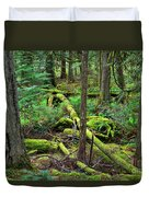 Moss And Fallen Trees In The Rainforest Of The Pacific Northwest Duvet Cover