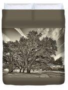 Moss-draped Live Oaks Sepia Toned Duvet Cover