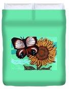 Moth And Sunflower Duvet Cover