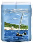 Moth Sailing At Castle Hill Light Duvet Cover