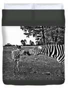 Mother And Child-black And White Duvet Cover