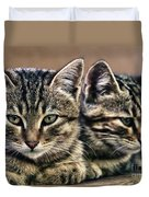 Mother And Child Wild Cats Duvet Cover