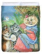 Mother Cat With Fan And Two Kittens Duvet Cover