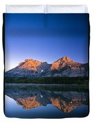 Mount Kidd Reflected In Wedge Pond Duvet Cover