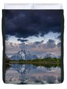 Mount Moran Under Black Cloud Duvet Cover