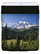 Mount Rainier With Coniferous Forest Duvet Cover
