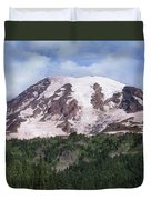 Mount Rainier With Coniferous Forest Duvet Cover
