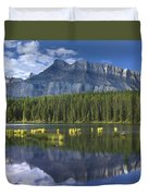 Mount Rundle And Boreal Forest  Duvet Cover