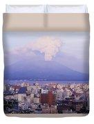 Mount Sakurajima Erupting In Front Of Duvet Cover