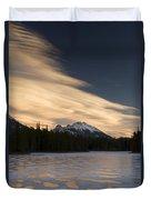 Mountain And Frozen Lake Kananaskis Duvet Cover