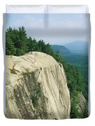 Mountain Biker On Edge Of Cliff Duvet Cover