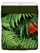 Mountain Bindweed And Fern Fronds Duvet Cover