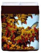 Mountain Bluebird Sialia Currucoides Duvet Cover