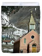 Mountain Chapel With Red Steps Duvet Cover by Lorraine Devon Wilke