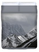 Mountain Peaks In Clouds, Spray Lakes Duvet Cover