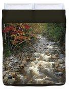 Mountain Stream In Autumn, White Duvet Cover
