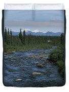 Mountain Stream With Cabin In Evergreen Duvet Cover