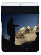 Mountaineers Rest At Their Campsite Duvet Cover