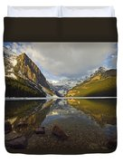 Mountains Reflected In Lake Louise Duvet Cover