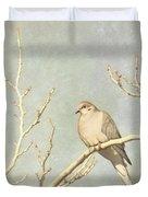 Mourning Dove In Winter Duvet Cover