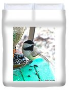 Mouth Full Chickadee Duvet Cover