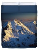 Mt Cook Or Aoraki And Mt Tasman, Aerial Duvet Cover