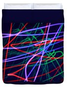 Multi-colored Glowing Light Streaks Duvet Cover
