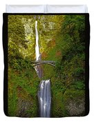 Multnomah Falls At Summer Solstice - Posterized Duvet Cover