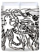Munch On Octopussy A Tribute To Munch With Romantic Octopus Pier Screaming Boats Lake Flower Love Duvet Cover