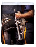 Music - Trumpet - Police Marching Band  Duvet Cover by Mike Savad