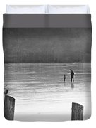 My First Walk On Water Bw Duvet Cover
