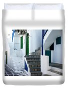Mykonos Stairs Duvet Cover by Rebecca Margraf