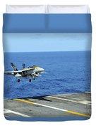 N Fa-18c Hornet Lands Aboard Duvet Cover