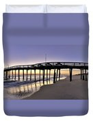 Nags Head Fishing Pier At Sunrise - Outer Banks Scenic Photography Duvet Cover