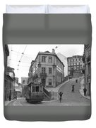 Narrow Streets And Streetcar In Lisbon Duvet Cover