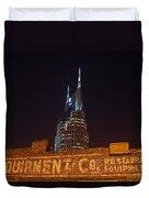 Nashville Downtown Night Scene Duvet Cover by Douglas Barnett