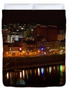 Nashville River Front By Night 1 Duvet Cover