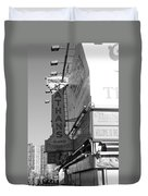 Nathan's Famous At Coney Island In Black And White Duvet Cover