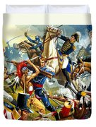 Native American Indians Vs American Soldiers Duvet Cover