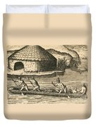 Native Americans Transporting Crops Duvet Cover