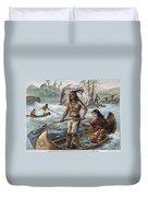 Native Americans/fishing Duvet Cover