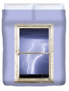 Nature Strikes White Rustic Barn Picture Window Frame Photo Art Duvet Cover