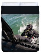 Navy Diver Dives Into San Diego Bay Duvet Cover